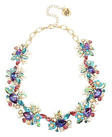 Betsey Johnson Mermaid Mixed Stone Cluster Collar Necklace