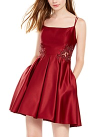 Juniors' Appliqué Fit & Flare Pocket Dress