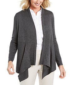 Ribbed Handkerchief-Hem Cardigan, Created For Macy's