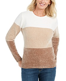 Petite Lucy Colorblocked Chenille Sweater, Created for Macy's