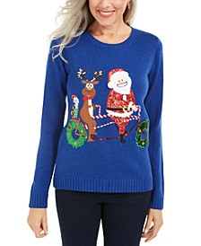Petite Santa Bicycle Sweater, Created For Macy's