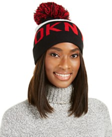 DKNY Logo Stadium Beanie With Pom