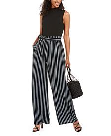Juniors' Solid & Striped Paperbag-Waist Jumpsuit