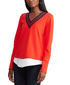 Stripe-Trim Layered Cricket Top