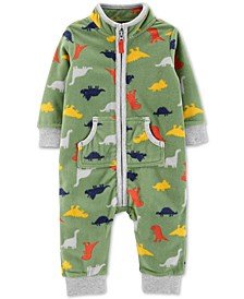 Baby Boys Dinosaur-Print Zip-Up Fleece Jumpsuit