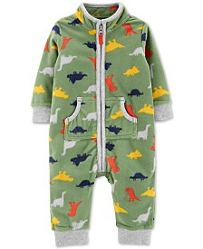 Carter's Baby Boys Dinosaur-Print Zip-Up Fleece Jumpsuit