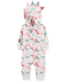 Baby Girls Dino-Print Fleece Hooded Coverall