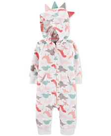 Carter's Baby Girls Dino-Print Fleece Hooded Coverall