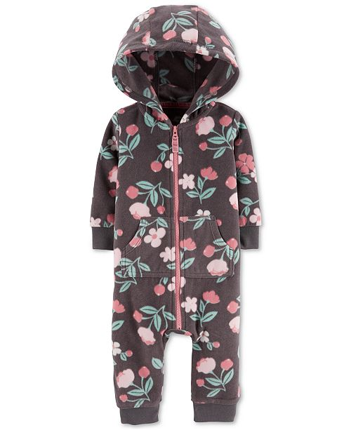 Carter's Baby Girls Floral-Print Fleece Hooded Coverall