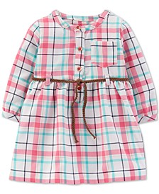Baby Girls Belted Plaid Twill Dress