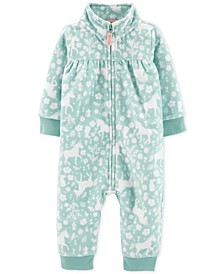 Baby Girls Unicorn-Print Zip-Up Fleece Jumpsuit