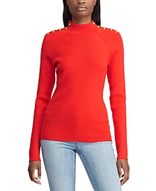 Mockneck Button-Trim Sweater