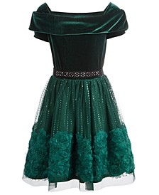 Big Girls Belted & Embellished Velvet Dress