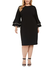 Calvin Klein Plus Size Pearly-Trim Bell-Sleeve Dress