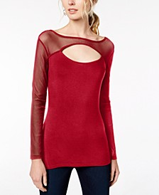 INC Cutout Illusion Top, Created for Macy's
