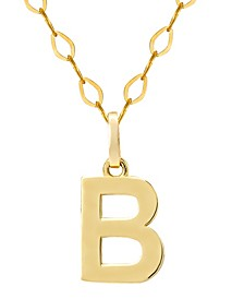 "Initial Pendant Necklace with 18"" Chain in 14k Yellow Gold"