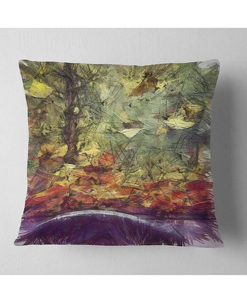 """Design Art Designart Abstract Fall Watercolor Drawing Landscape Printed Throw Pillow - 18"""" X 18"""""""