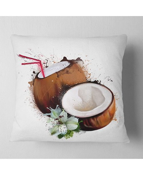 "Design Art Designart Coconuts With Straw Watercolor Floral Throw Pillow - 18"" X 18"""