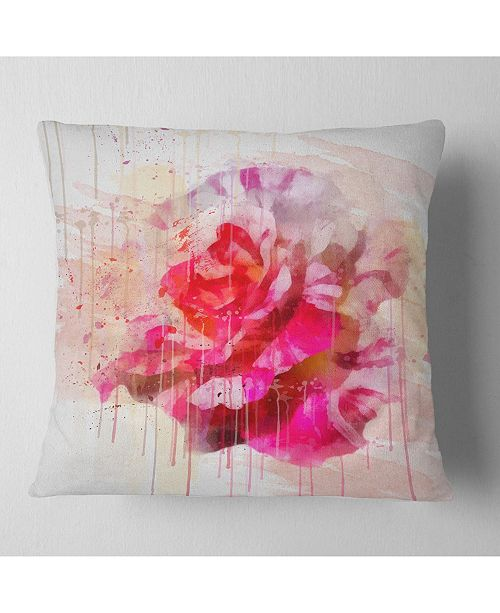 "Design Art Designart Red Rose With Watercolor Splashes Floral Throw Pillow - 18"" X 18"""