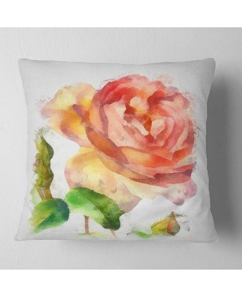 """Design Art Designart Bloomy Red Rose Watercolor Drawing Floral Throw Pillow - 18"""" X 18"""""""