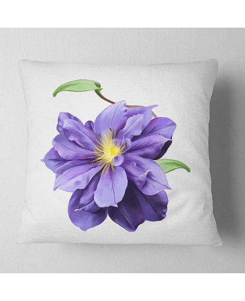 "Design Art Designart Purple Watercolor Summer Flower Floral Throw Pillow - 16"" X 16"""