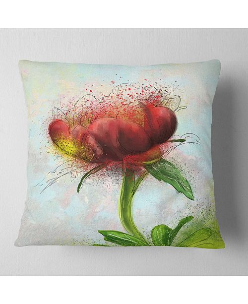 "Design Art Designart Cute Red Green Watercolor Flower Floral Throw Pillow - 18"" X 18"""