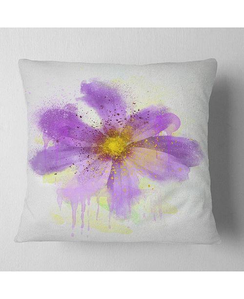 """Design Art Designart Purple Flower With Large Petals Flowers Throw Pillowwork - 16"""" X 16"""""""