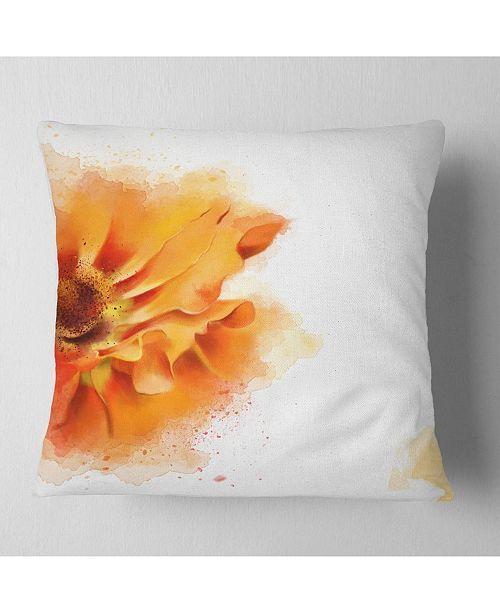 "Design Art Designart Beautiful Yellow Flower Watercolor Flowers Throw Pillowwork - 16"" X 16"""