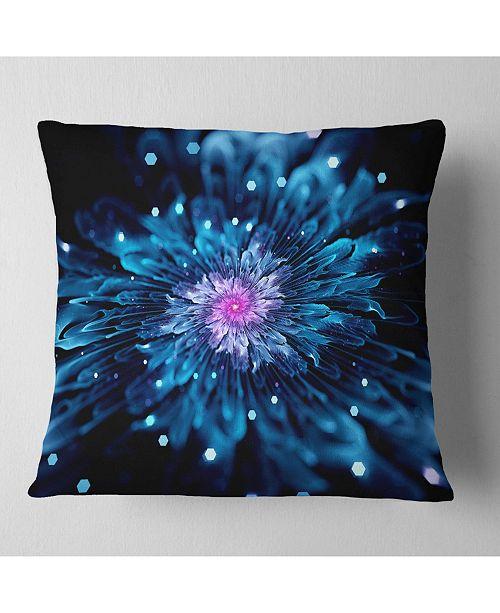 "Design Art Designart Blue Fractal Flower With Shiny Particles Flower Throw Pillow - 16"" X 16"""