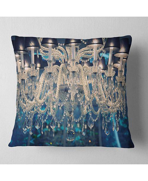 "Design Art Designart Blue Retro Crystal Chandelier Flower Throw Pillow - 18"" X 18"""