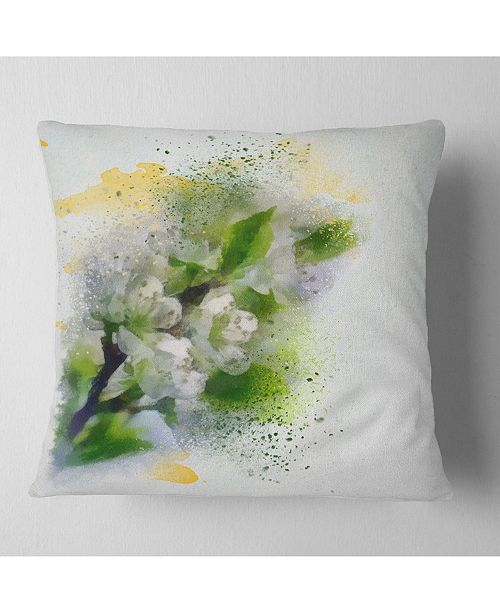 """Design Art Designart Cherry Branch With Leaves And Flowers Flower Throw Pillow - 16"""" X 16"""""""