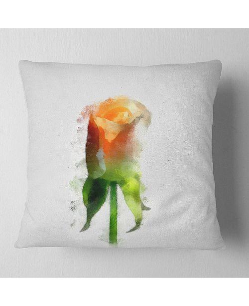 "Design Art Designart Yellow Rose With Steam Drawing Flower Throw Pillow - 16"" X 16"""