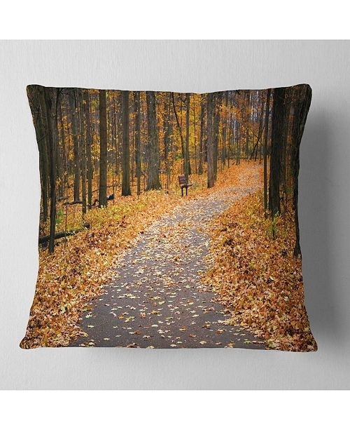 "Design Art Designart Autumn Walk Way With Fallen Leaves Modern Forest Throw Pillow - 18"" X 18"""