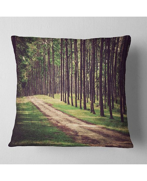 "Design Art Designart Retro Style Forest With Pathway Modern Forest Throw Pillow - 16"" X 16"""