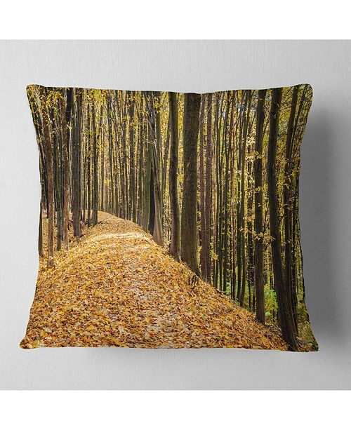 "Design Art Designart Dense Autumn Forest Woods Modern Forest Throw Pillow - 18"" X 18"""