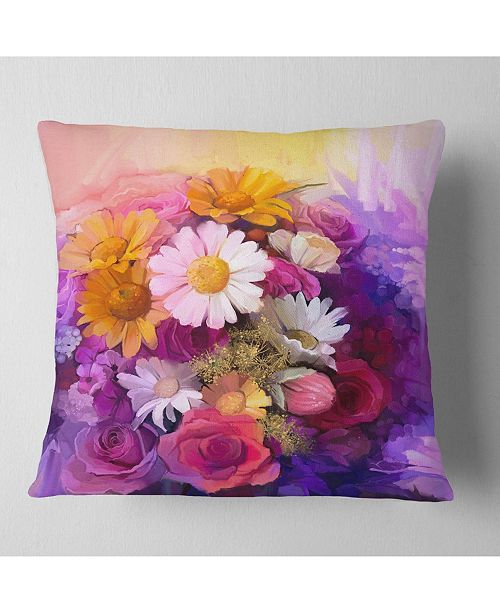 "Design Art Designart Colorful Bouquet Of Different Flowers Floral Throw Pillow - 16"" X 16"""
