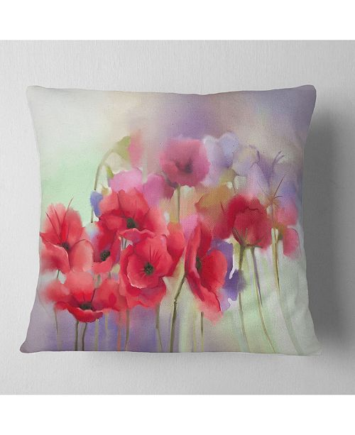"Design Art Designart Watercolor Red Poppy Flowers Painting Floral Throw Pillow - 18"" X 18"""