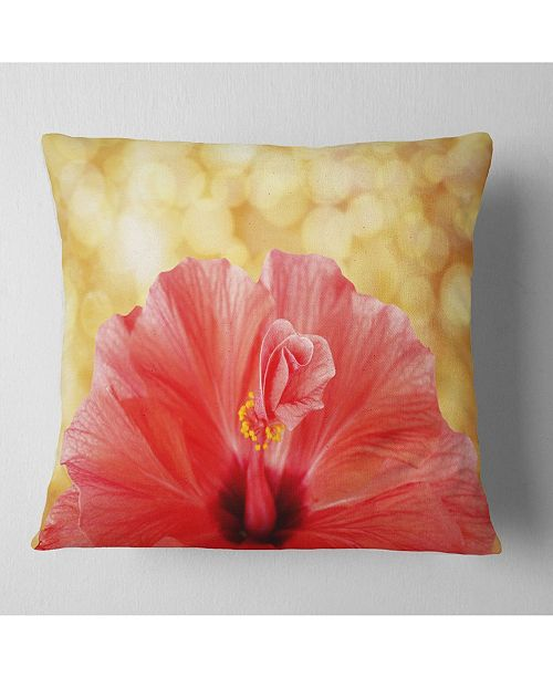 "Design Art Designart Hibiscus Flower With Lit Up Background Floral Throw Pillow - 16"" X 16"""