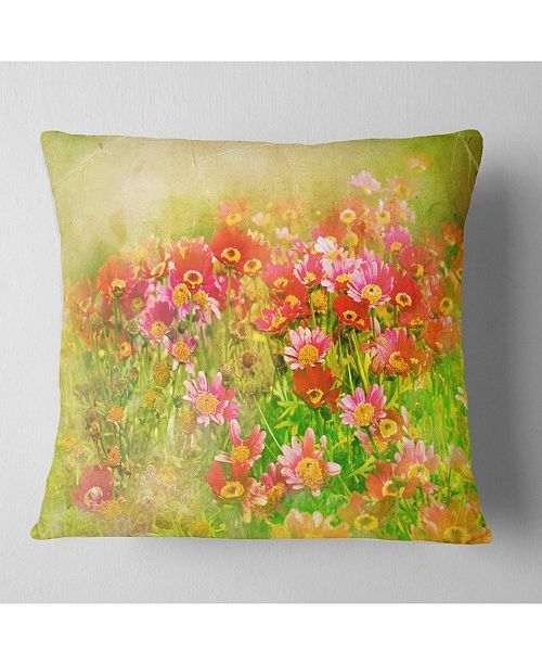 """Design Art Designart Colorful Spring Garden With Flowers Floral Throw Pillow - 18"""" X 18"""""""