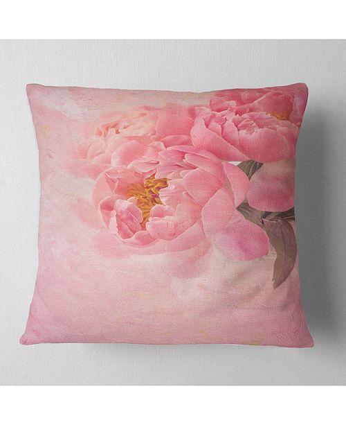 "Design Art Designart Peony Flowers On Pink Background Floral Throw Pillow - 18"" X 18"""