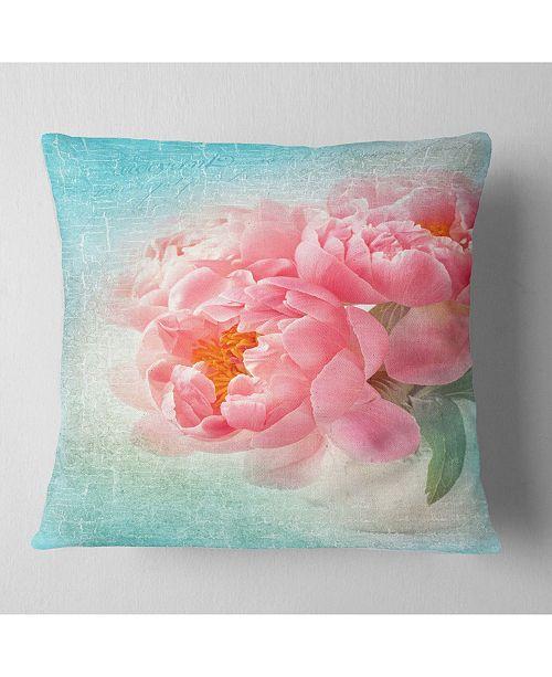 "Design Art Designart Peony Flowers Merged To Blue Floral Throw Pillow - 16"" X 16"""