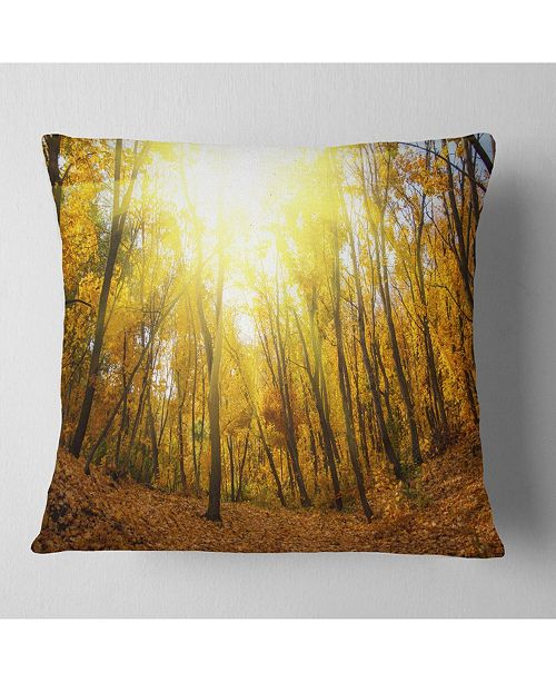"Design Art Designart Yellow Autumn Forest In Sunlight Forest Throw Pillow - 16"" X 16"""