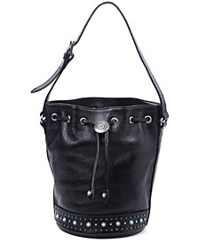 Turquoise Cove Leather Bucket Bag