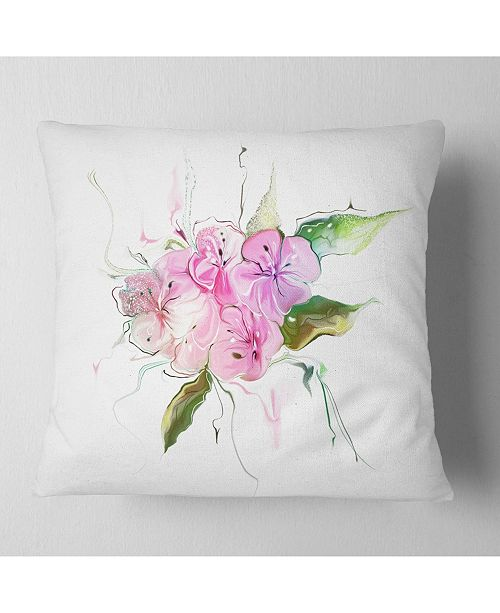 "Design Art Designart Pink Bouquet Of Pansies Animal Throw Pillow - 16"" X 16"""