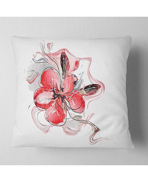 "Design Art Designart Red Floral Watercolor Sketch Animal Throw Pillow - 16"" X 16"""