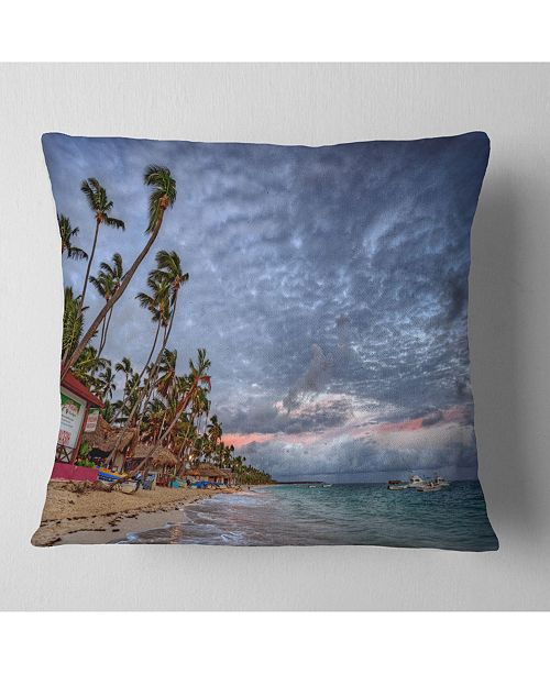 "Design Art Designart Long Palm Trees Bent To Beach Seashore Throw Pillow - 18"" X 18"""