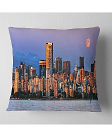 """Designart Vancouver Downtown Skyscrapers Throw Pillow - 26"""" X 26"""""""