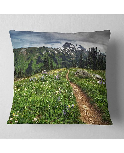 "Design Art Designart Path Through Flowering Fields Landscape Printed Throw Pillow - 18"" X 18"""