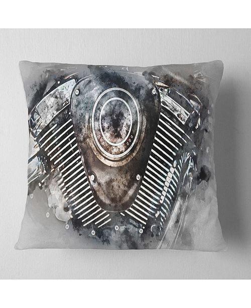 "Design Art Designart Motorcycle Engine Watercolor Contemporary Throw Pillow - 18"" X 18"""