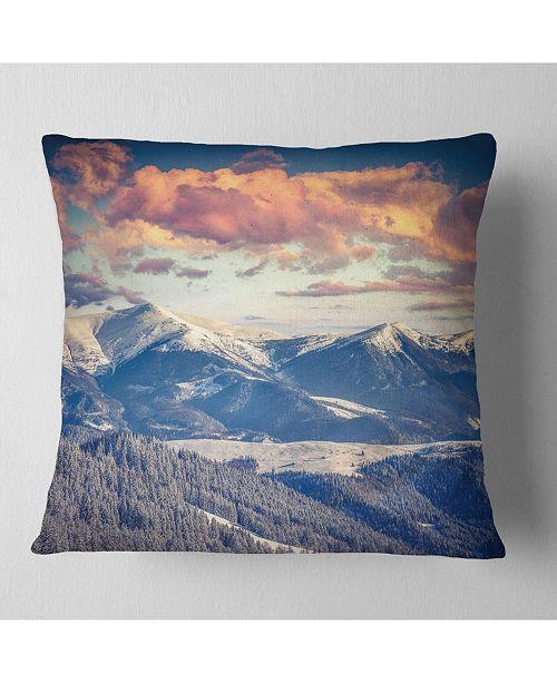 "Design Art Designart Winter Alpine Sunset Over Hills Landscape Printed Throw Pillow - 16"" X 16"""